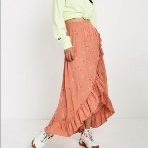 UO Frill Beach Wrap Midi Skirt